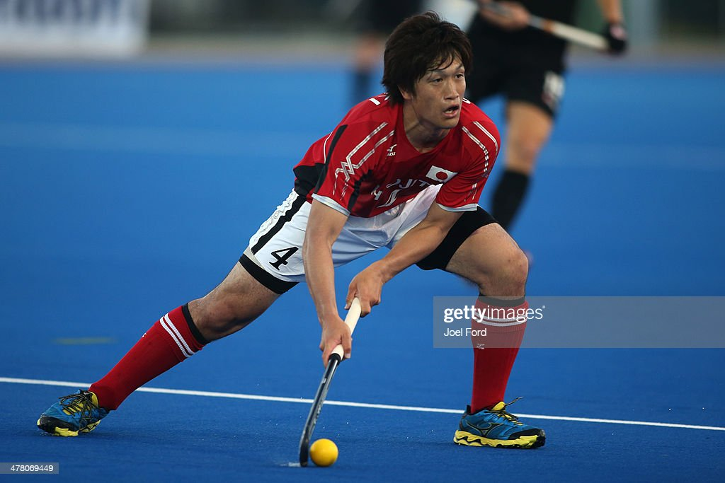 Takuro Saski of Japan during the Test Match between the New Zealand Black Sticks and Japan at Blake Park on March 12, 2014 in Mount Maunganui, New Zealand.