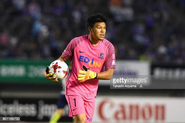 Takuto Hayashi of Sanfrecce Hiroshima in action during the JLeague J1 match between Sanfrecce Hiroshima and Omiya Ardija at Edion Stadium on June 25...