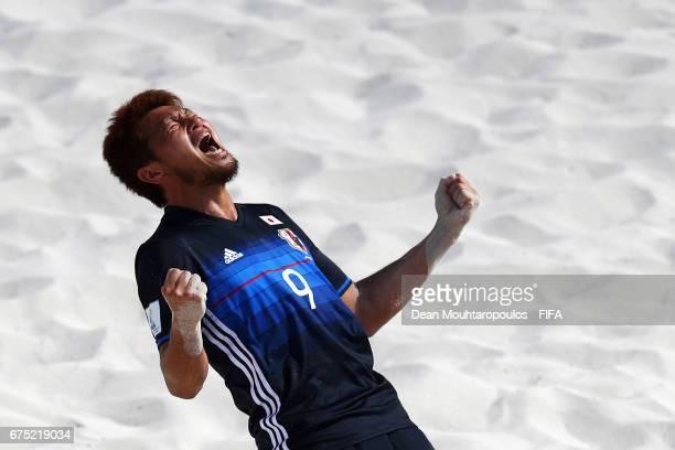 Takuya Akaguma of Japan celebrates scoring a goal during the FIFA Beach Soccer World Cup Bahamas 2017 group D match between Tahiti and Japan at...