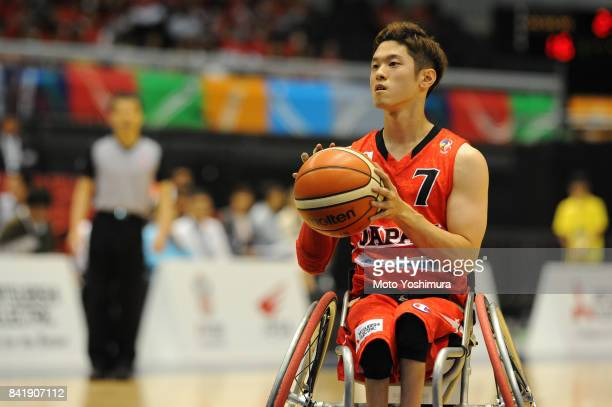 Takuya Furusawa of Japan in action during the Wheelchair Basketball World Challenge Cup match between Great Britain and Japan at the Tokyo...