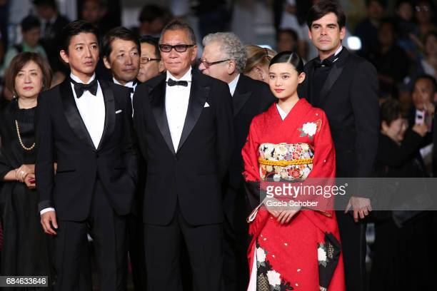 Takuya Kimura director Takashi Miike and Hana Sugisaki attend the 'Blade Of The Immortal ' premiere during the 70th annual Cannes Film Festival at...