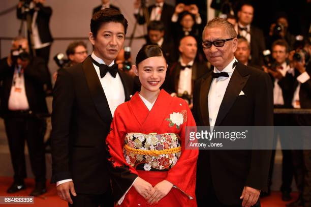 Takuya Kimura Hana Sugisaki and director Takashi Miike attend the 'Blade Of The Immortal ' premiere during the 70th annual Cannes Film Festival at...
