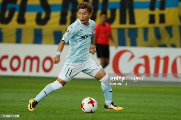 Takuya Matsuura of Jubilo Iwata in action during the JLeague J1 match between Vegalta Sendai and Jubilo Iwata at Yurtec Stadium Sendai on August 9...