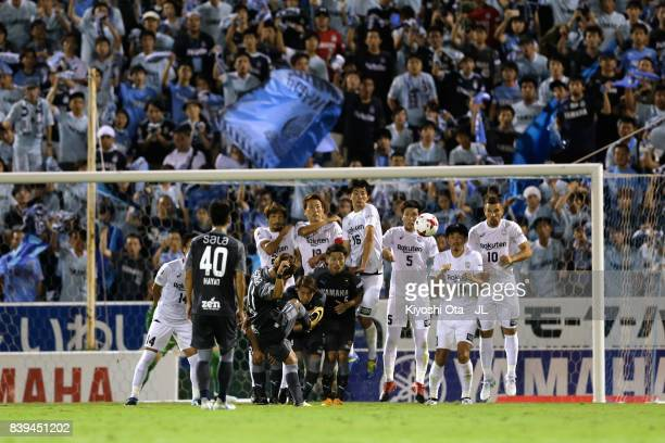 Takuya Matsuura of Jubilo Iwata scores his side's second goal from a free kick during the JLeague J1 match between Jubilo Iwata and Vissel Kobe at...