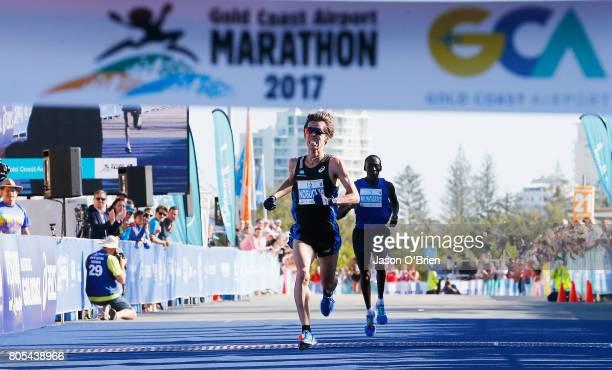 Takuya Noguchi from Japan approaches the finishing line during the Gold Coast Marathon on July 2 2017 in Gold Coast Australia