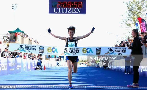 Takuya Noguchi from Japan celebrates winning during the Gold Coast Marathon on July 2 2017 in Gold Coast Australia