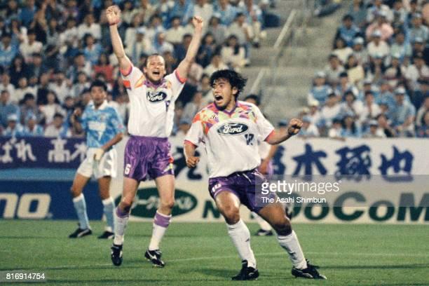 Takuya Takagi of Safrecce Hiroshima celebrates scoring his side's first goal during the JLeague match between Jubilo Iwata and Sanfrecce Hiroshima at...