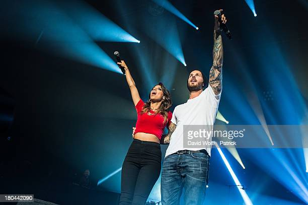 Tal and Matt Pokora perform at L'Olympia on September 12 2013 in Paris France