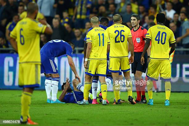 Tal Ben Haim of Maccabi TelAviv is sent off by referee Alberto Undiano Mallenco for a late challenge on Diego Costa of Chelsea during the UEFA...