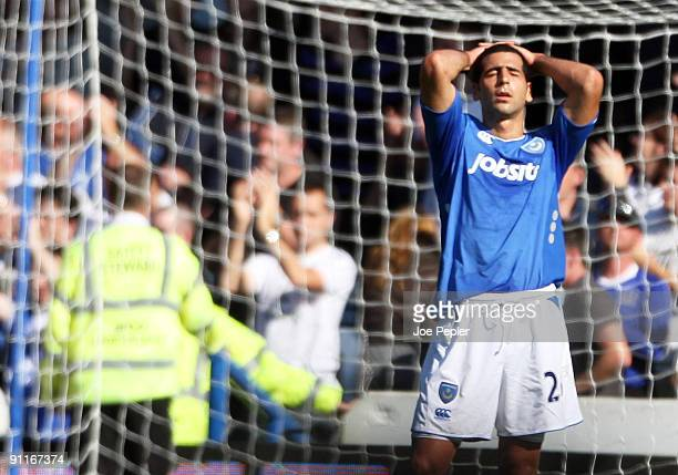Tal Ben Haim of Portsmouth shows his frustration after the Barclays Premier League match between Portsmouth and Everton at Fratton Park on September...