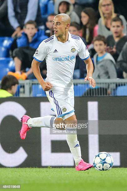 Tal Ben Haim of Tel Aviv controls the ball during the UEFA Champions League qualifying round play off first leg match between FC Basel and Maccabi...
