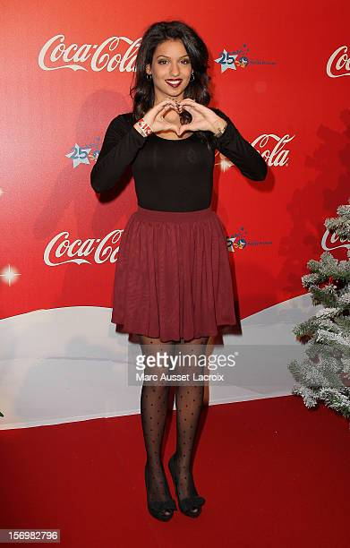 Tal poses at the Coca Cola Christmas windows inauguration at Le Showcase on November 26 2012 in Paris France