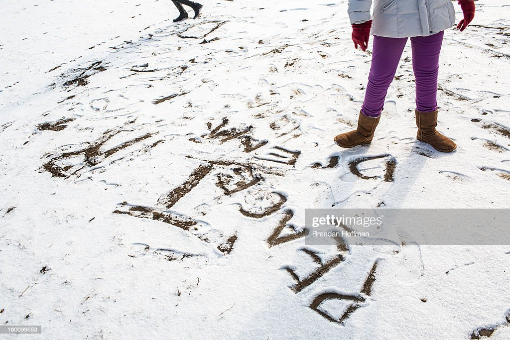 Tala Mack, 11 from Oakton, Virginia, writes 'peace' and 'dream' in the snow before a march for stricter gun control laws on January 26, 2013 in Washington, DC. The demonstrators included survivors of the shooting at Virginia Tech, Newtown, Connecticut, and others.