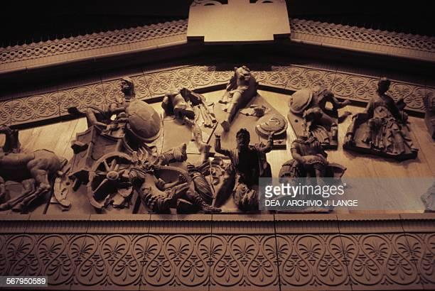 Talamone pediment c 150 bC terracotta pediment from the Etruscan Temple of Talamonaccio Tuscany Italy Etruscan civilisation 2nd century bC Orbetello...