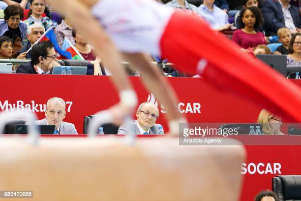 Talas Bence of Azerbaijan competes in the Men's Pommel Horse Final during day four of Baku 2017 4th Islamic Solidarity Games at the National...