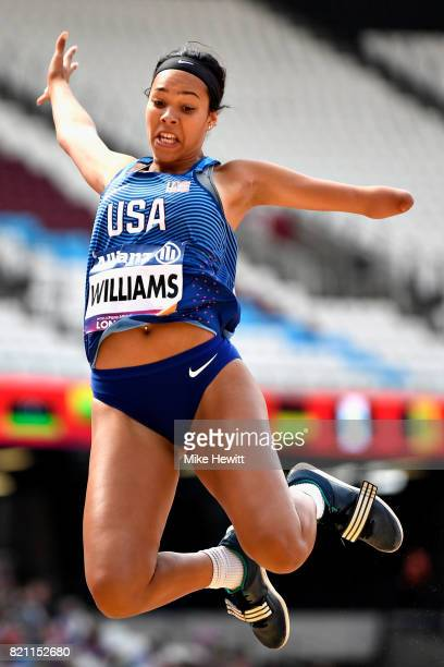Taleah Williams of USA competes in the Womens long jump T47 final during day ten of the IPC World ParaAthletics Championships 2017 at London Stadium...
