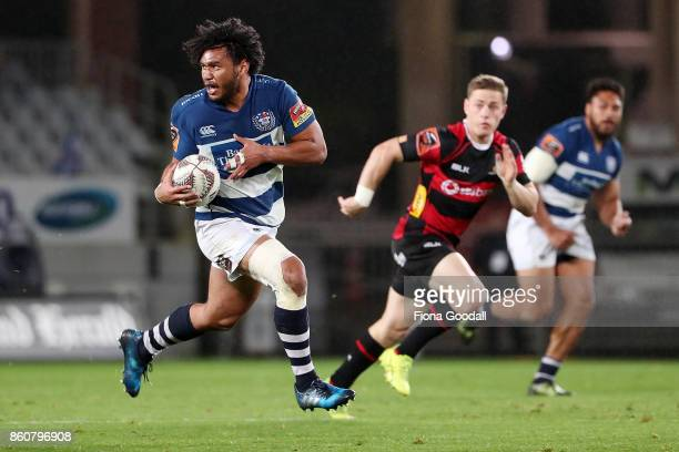 Taleni Seu of Auckland makes a break during the round nine Mitre 10 Cup match between Auckland and Canterbury at Eden Park on October 13 2017 in...