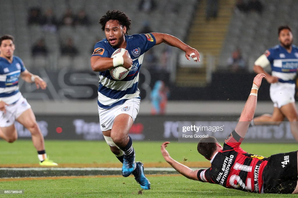 Taleni Seu of Auckland makes a break during the round nine Mitre 10 Cup match between Auckland and Canterbury at Eden Park on October 13, 2017 in Auckland, New Zealand.