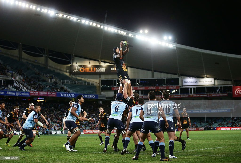 Taleni Seu of the Chiefs jumps at the lineout during the round 14 Super Rugby match between the Waratahs and the Chiefs at Allianz Stadium on May 27, 2016 in Sydney, Australia.