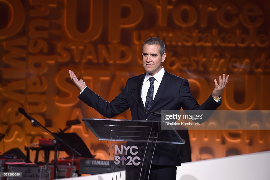 Talent agent and event chair Jim Toth speaks onstage during Entertainment Industry Foundation Presents Stand Up To Cancer's New York Standing Room...