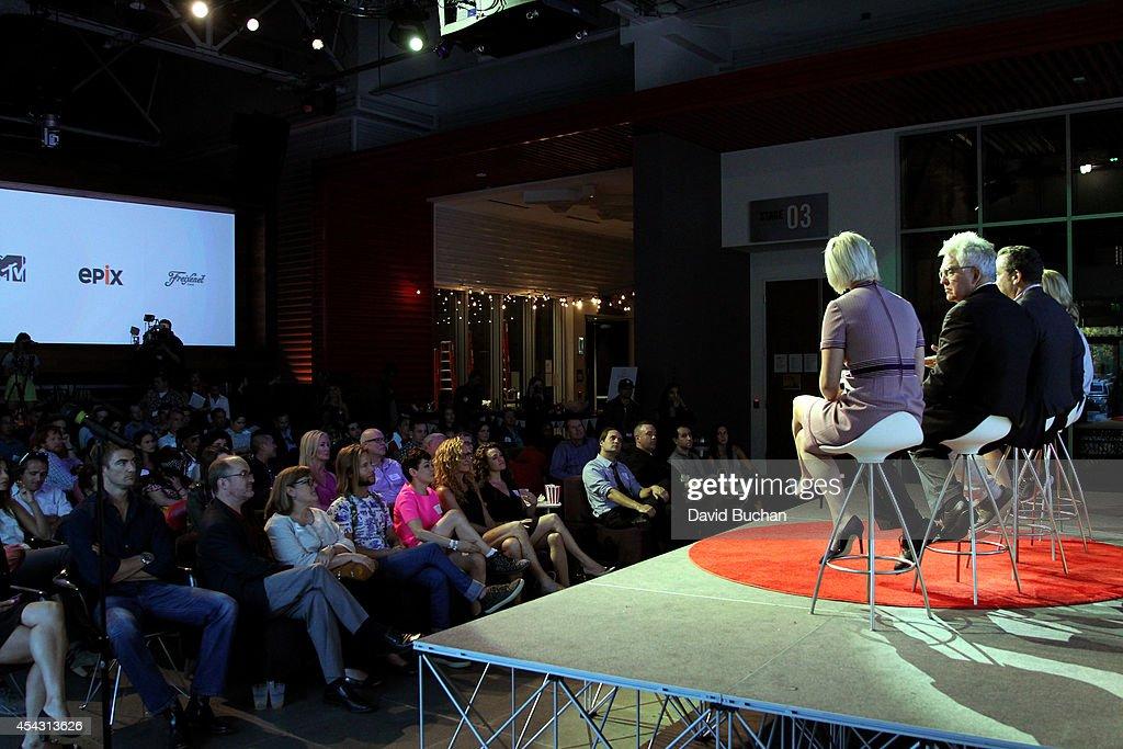 talent agent Hailey Wierengo Executive Editor at TheWrap Joseph Anthony Kapsch and producer Ron Yerxa speak onstage at TheWrap's ShortList Film...