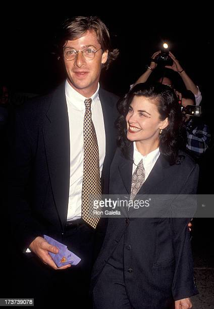 Talent agent Jay Moloney and actress Sherilyn Fenn attend the 'Hero' Century City Premiere on September 21 1992 at Cineplex Odeon Centuy Plaza...