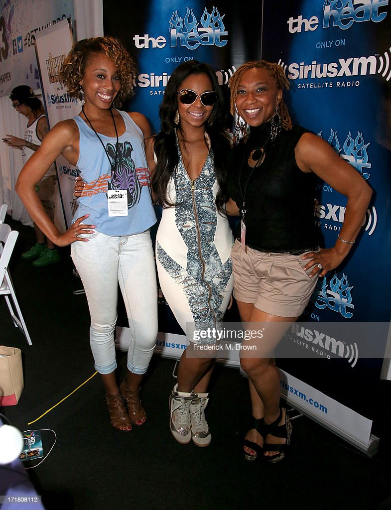 Talent and Industry Relations Liaison - SiriusXM Satellite Radio Jacqueline Hall, recording artist Ashanti, and Power 105's Deja Vu attend Radio Room Day 1 during the 2013 BET Awards at JW Marriott Los Angeles at L.A. LIVE on June 28, 2013 in Los Angeles, California.