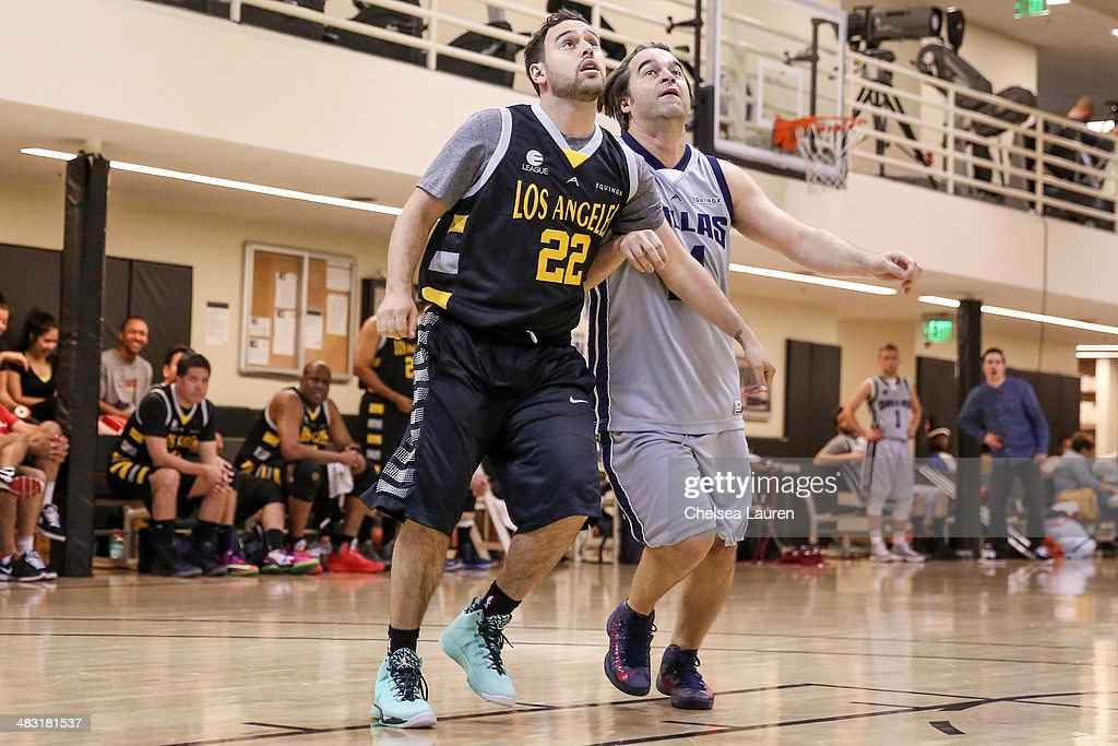 Talent manager Scooter Braun (L) and actor James Lafferty attend the E-League celebrity basketball game at Equinox Sports Club West LA on April 6, 2014 in Los Angeles, California.
