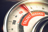 Talent Needed - Red Label on Conceptual Compass with Needle. Business Mode Concept. 3D.