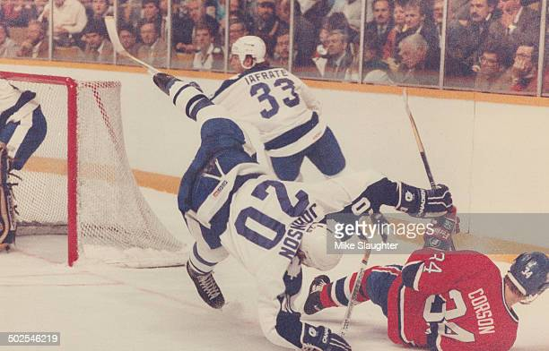 Tales three to tumble The action was fast and furious when Leafs and Montreal Canadians opened the season at Maple Leaf Gardens and here two Leafs Al...