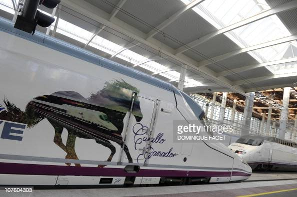 'Alta Velocidad Espanola' meaning Spanish highspeed is seen at the train station of Atocha of Madrid on December 15 2010 prior to the inauguration of...