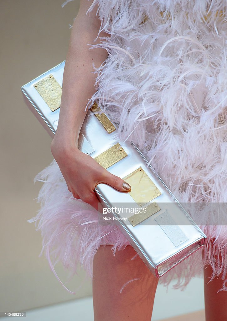 <a gi-track='captionPersonalityLinkClicked' href=/galleries/search?phrase=Tali+Lennox&family=editorial&specificpeople=5602601 ng-click='$event.stopPropagation()'>Tali Lennox</a> (handbag detail) attends the private VIP view of Royal Academy Summer Exhibition 2012 at Royal Academy of Arts on May 30, 2012 in London, England.