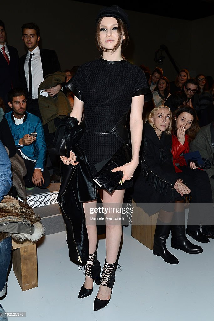 Tali Lennox attends the Salvatore Ferragamo fashion show as part of Milan Fashion Week Womenswear Fall/Winter 2013/14 on February 24 2013 in Milan...