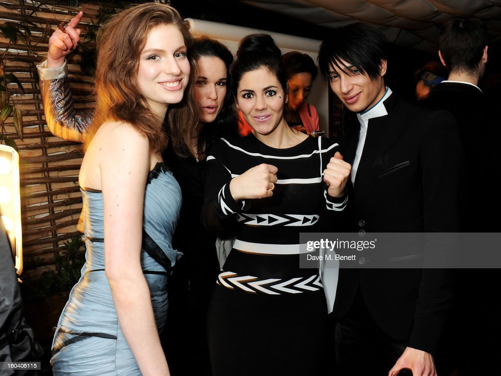 Tali Lennox, guest, Marina Diamandis and Natt Weller attend the InStyle Best Of British Talent party in association with Lancome and Avenue 32 at Shoreditch House on January 30, 2013 in London, England.