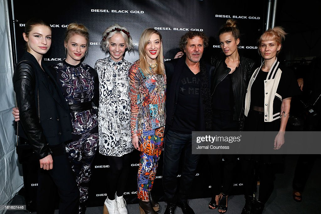 Tali Lennox, Leven Rambin, Caitlin Moe, Mia Moretti, designer Renzo Rosso, Petra Nemcova and signer Oh Land backstage at the Diesel Black Gold Fall 2013 fashion show during Mercedes-Benz Fashion Week at Pier 57 on February 12, 2013 in New York City.