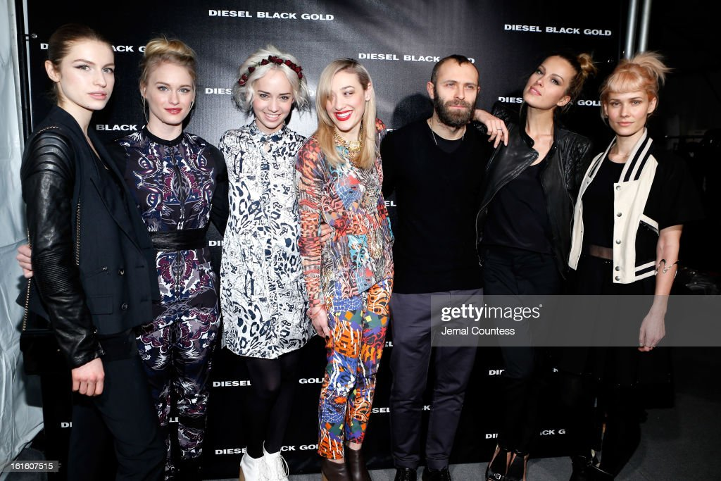 Tali Lennox, Leven Rambin, Caitlin Moe, Mia Moretti, designer Stefano Rosso, Petra Nemcova and signer Oh Land backstage at the Diesel Black Gold Fall 2013 fashion show during Mercedes-Benz Fashion Week at Pier 57 on February 12, 2013 in New York City.