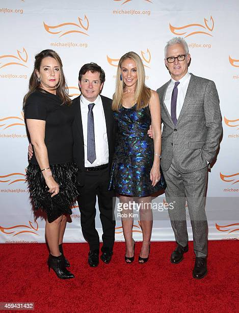 Talia Balsam Michael J Fox Tracy Pollan and John Slattery attend '2014 A Funny Thing Happened On The Way To Cure Parkinson's' event at The...
