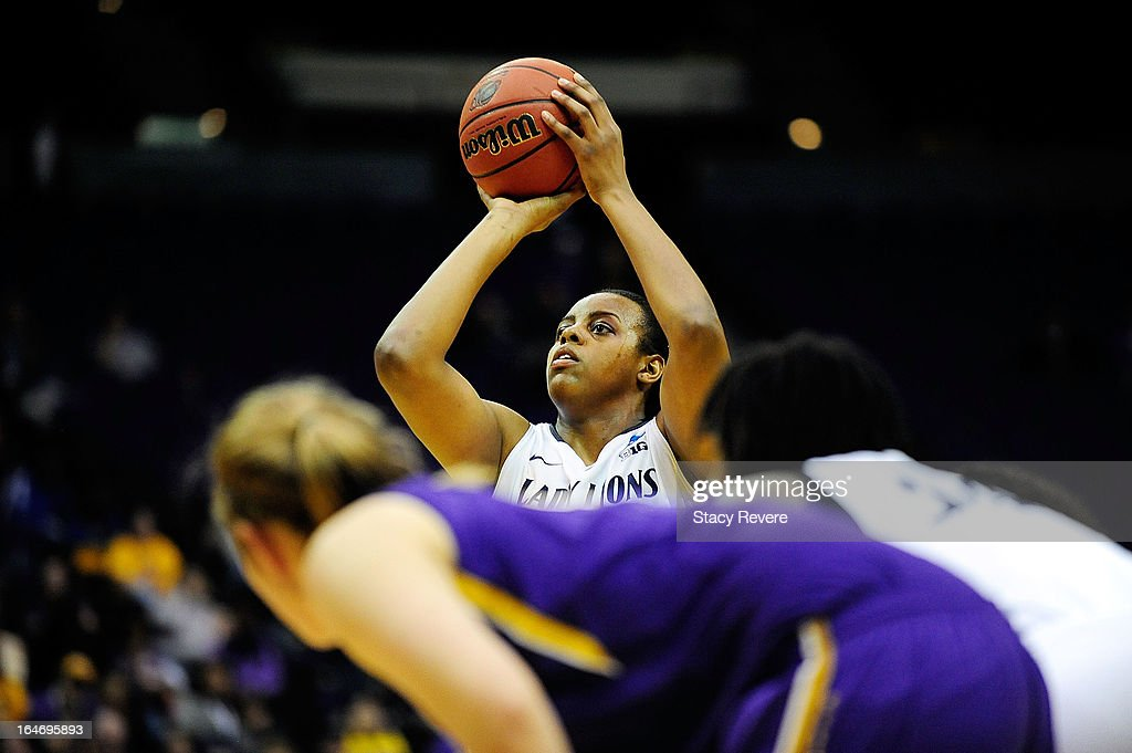 Talia East #5 of the Penn State Lady Lions shoots a free throw against the LSU Tigers during the second round of the NCAA Tournament at the Pete Maravich Assembly Center on March 26, 2013 in Baton Rouge, Louisiana. LSU won the game 71-66.