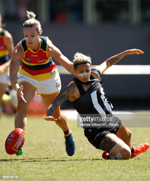 Talia Radan of the Crows and Moana Hope of the Magpies compete for the ball during the 2017 AFLW Round 07 match between the Collingwood Magpies and...