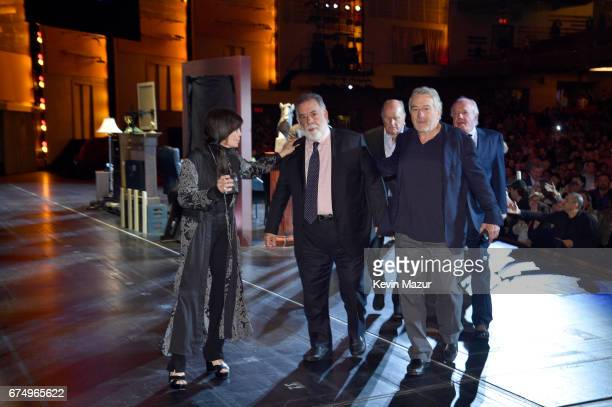 Talia Shire Francis Ford Coppola Robert Duvall Robert DeNiro and James Caan leave the stage during 'The Godfather' 45th Anniversary Screening during...