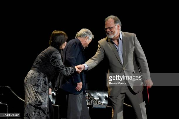 Talia Shire Robert DeNiro and Taylor Hackford speak onstage during the panel for 'The Godfather' 45th Anniversary Screening during 2017 Tribeca Film...
