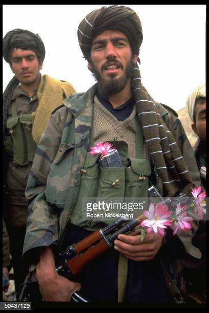 Taliban fighters at new radical Islamic faction's HQ taken fr opposition Hekmatyar mujahedin by maj student army on top in factional civil war