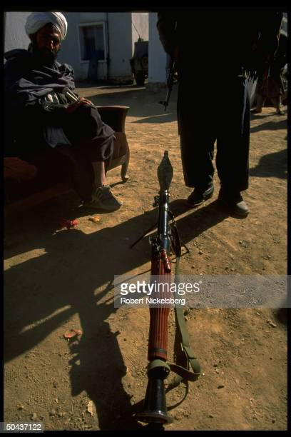 Taliban fighters w RPG at HQ taken fr opposition Hekmatyar mujahedin by radical Islamic clericled faction on top in civil war nr govtheld Kabul