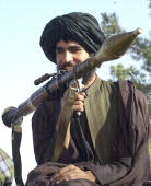 Taliban militant with a RGP rocket lancher in Kandahar 31 October 2001 the stronghold of their spiritual leader Mullah Mohammed Omar US warplanes...