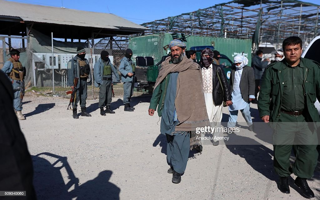 Taliban militants are seen after they surrendered to Afghani security forces in Herat, Afghanistan on February 10, 2016.