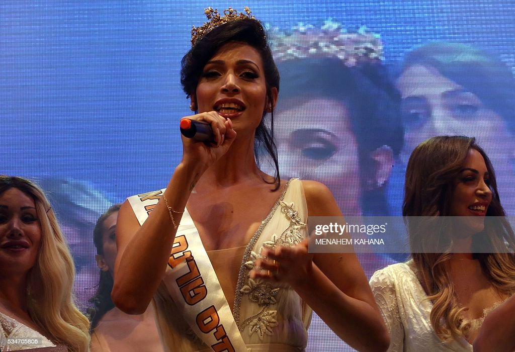 Talin abu Chana, 21, a Christian Arab-Israeli from Northern Israel, speaks upon winning Israel's first Miss Trans beauty pageant at Habima national theater in Tel Aviv on May 27, 2016, which marks the beginning of the 2016 Pride events. / AFP / MENAHEM