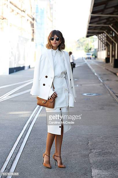 Talisa Sutton wearing Camilla and Marc arrives at MercedesBenz Fashion Week Resort 17 Collections at Carriageworks on May 19 2016 in Sydney New South...