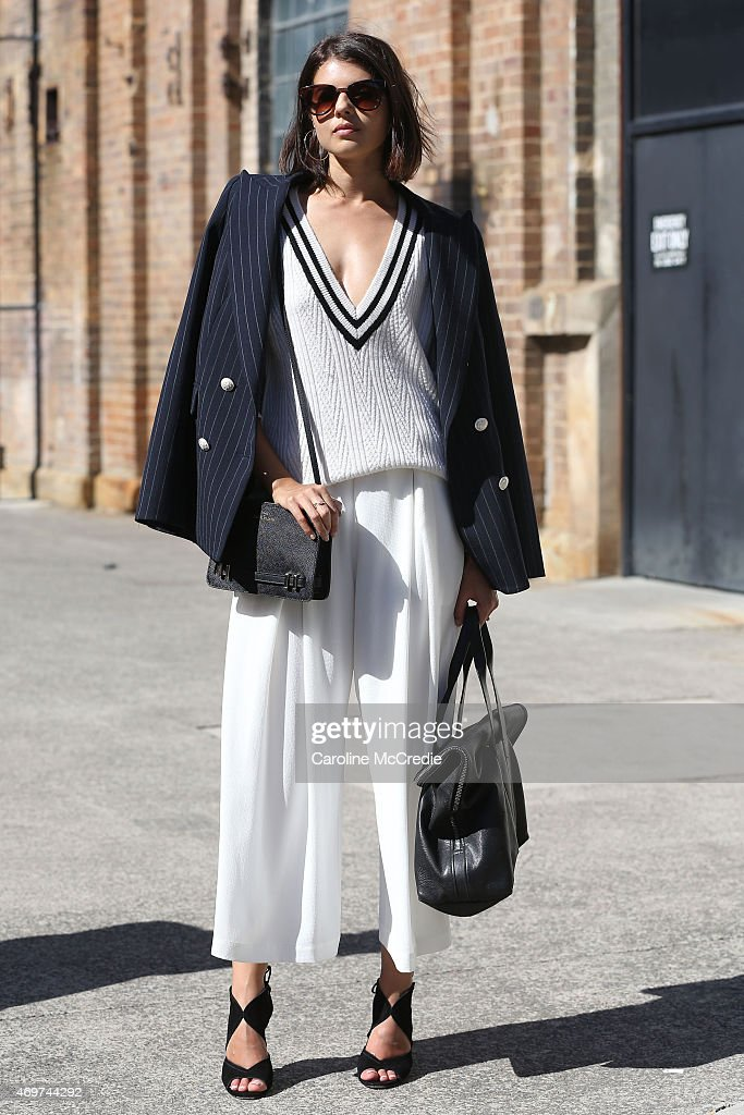Talisa Sutton wearing Camilla and Marc blazer trousers Kate Sylvester sweater at MercedesBenz Fashion Week Australia 2015 at Carriageworks on April...