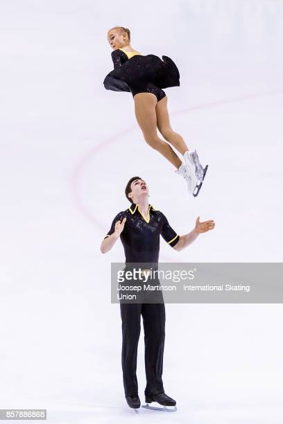 Talisa Thomalla and Robert Kunkel of Germany compete in the Pairs Short Program during day one of the ISU Junior Grand Prix of Figure Skating at...