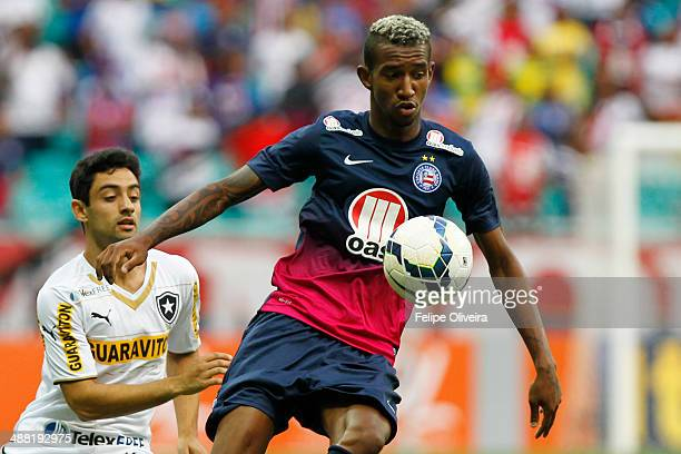 Talisca of Bahia battles for the ball during a match between Bahia and Botafogo as part of Brasileirao Series A 2014 at Arena Fonte Nova on May 4...